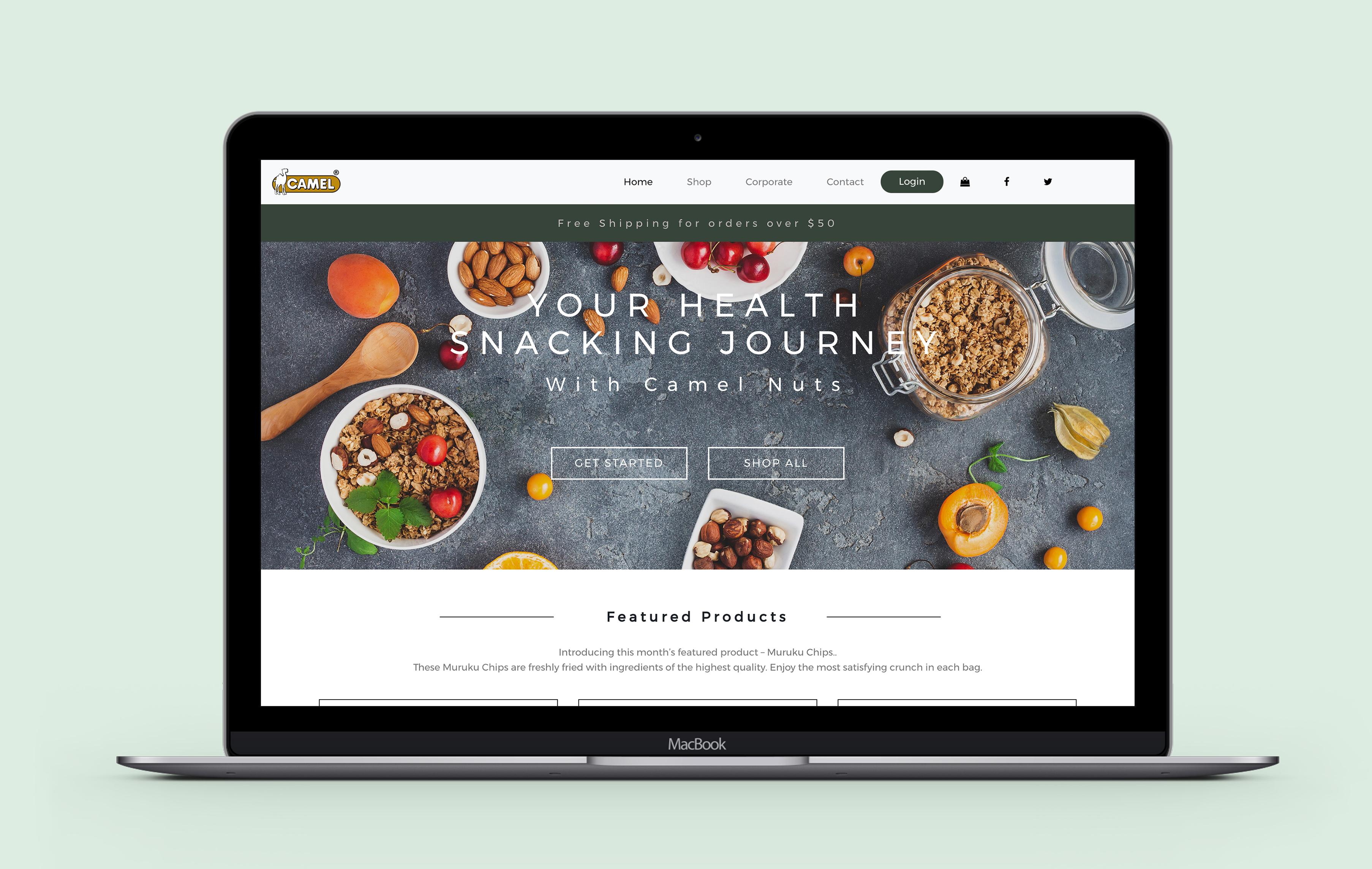 Camel Nuts desktop web design
