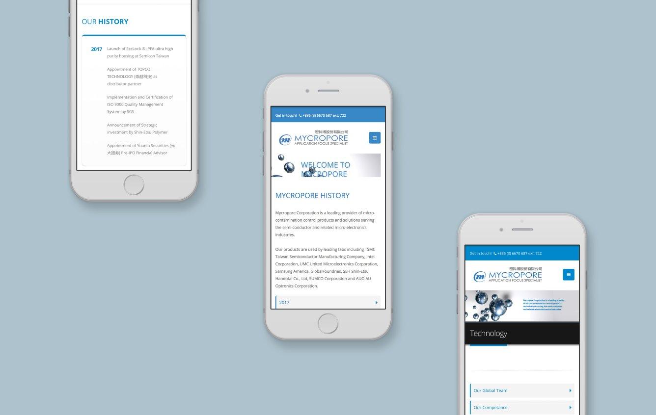 Mycropore mobile web design portfolio