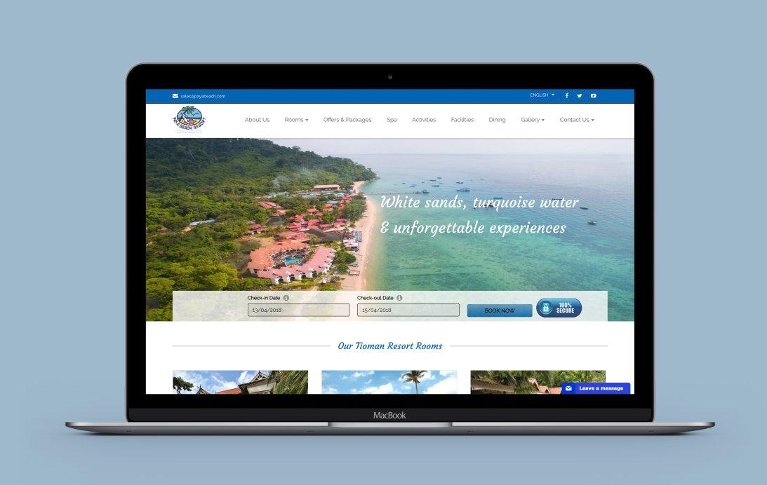 Payabeach Resort desktop web design portfolio