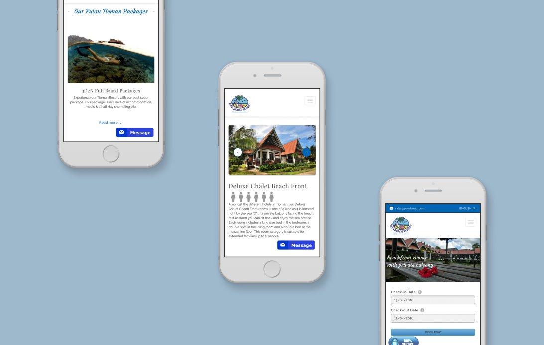 Payabeach Resort mobile web design portfolio