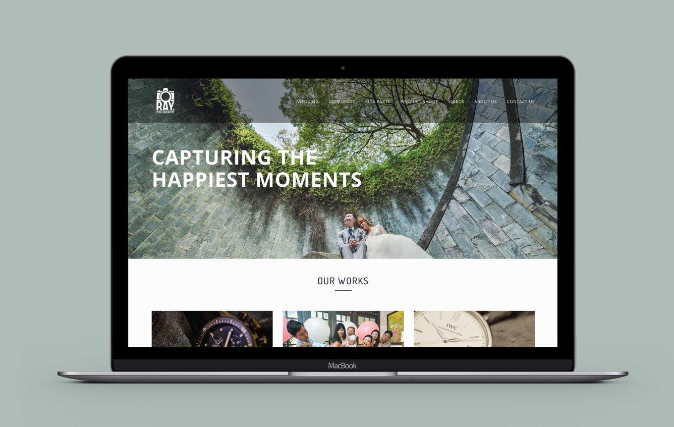 Ray Photography desktop web design portfolio