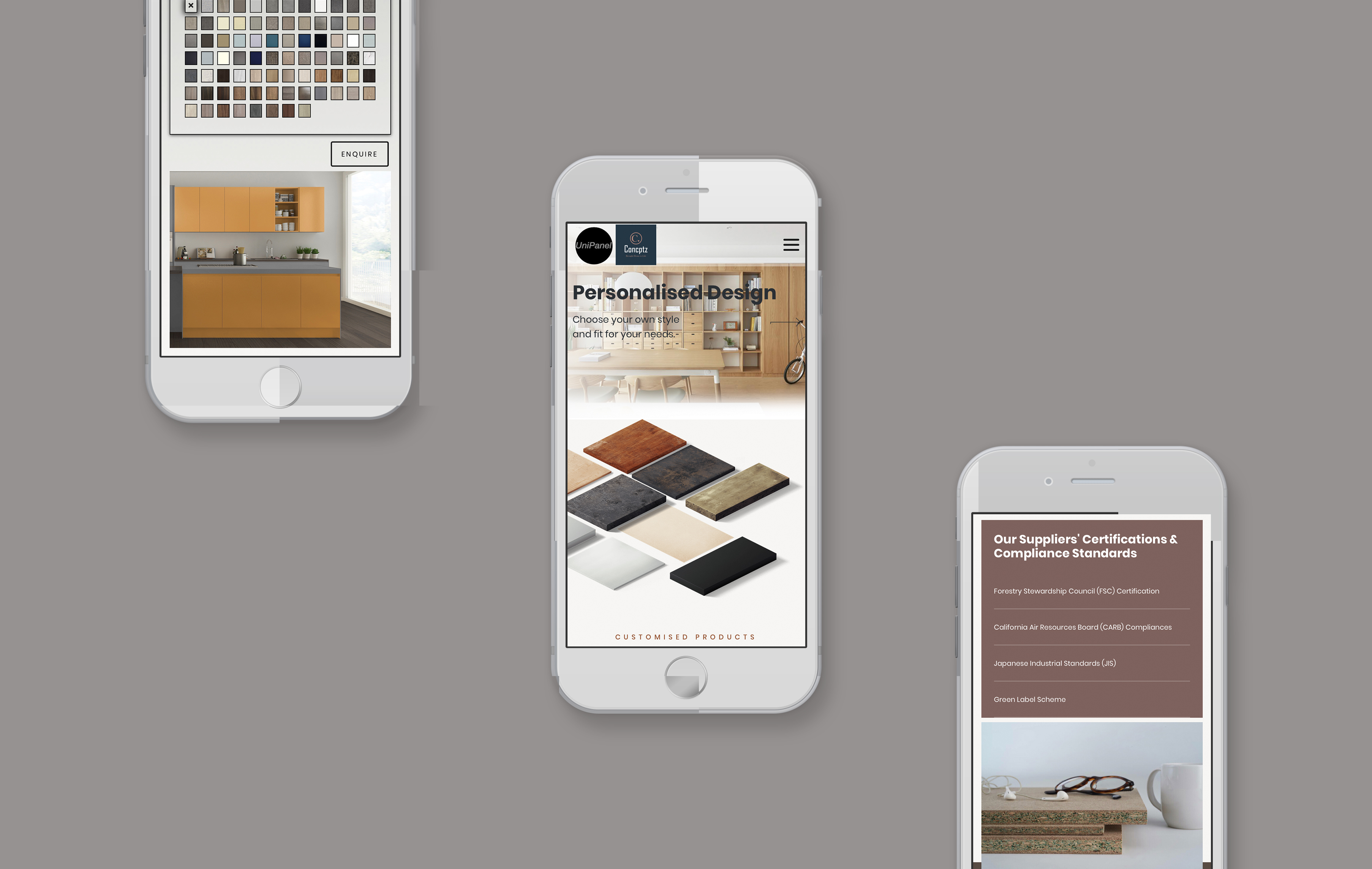 Uni Panel mobile web design